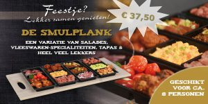 Smulplank lekker samen genieten van salades, vleeswaren specialiteiten, tapas en heel veel lekkers. Geschikt voor 6 a 8 personen. Dankzij de handige bakjes kunt u het geheel heel eenvoudig opgestapeld bewaren in de kolekast.